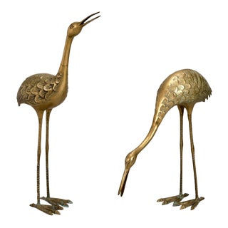 Pair of Mid-Century Tall Brass Crane Statues For Sale