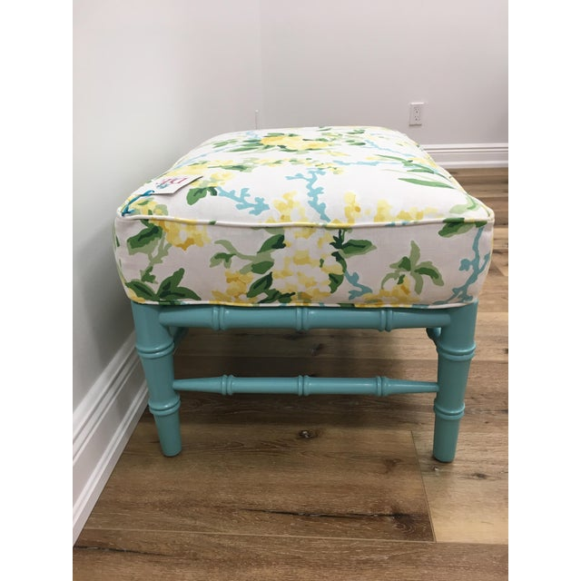 Traditional Transitional Sky Blue and White Floral Cottonwood Ottoman For Sale - Image 3 of 7