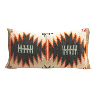 Rare Double Eye Dazzler Navajo Indian Weaving Bolster Pillow For Sale