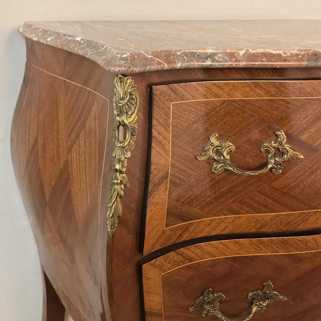 Antique French Louis XV Bombe Marquetry Marble Top Commode For Sale - Image 4 of 13