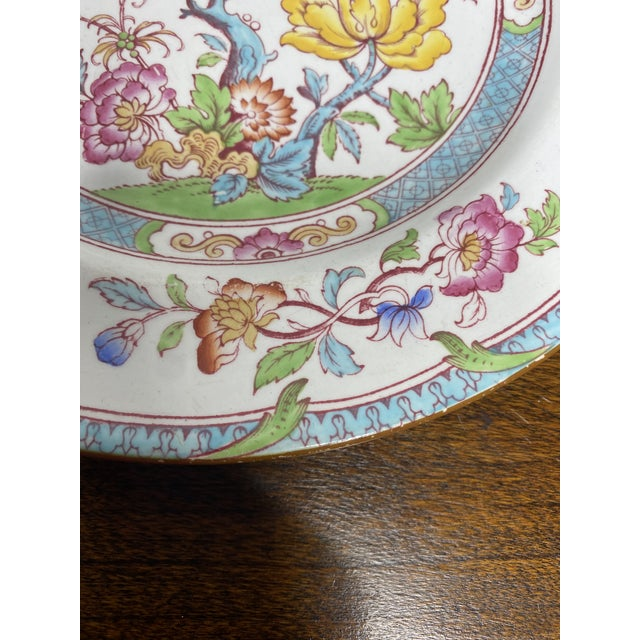 This lovely plate is one of Cauldon's most popular patterns, India Tree, but an unusual coloration with the turquoise...