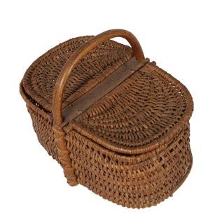 19th Century Antique French Picnic Basket With Carved Signature Preview