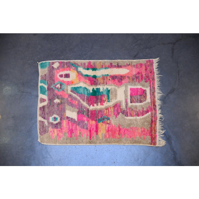 Boho Chic Moroccan Boho Chic Hand Made Pure Wool Pink and Green Rug - 4′4″ × 5′8″ For Sale - Image 3 of 3