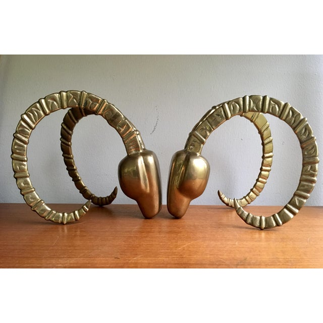 Hollywood Regency Brass Ram Horn Bookends- A Pair For Sale - Image 3 of 7