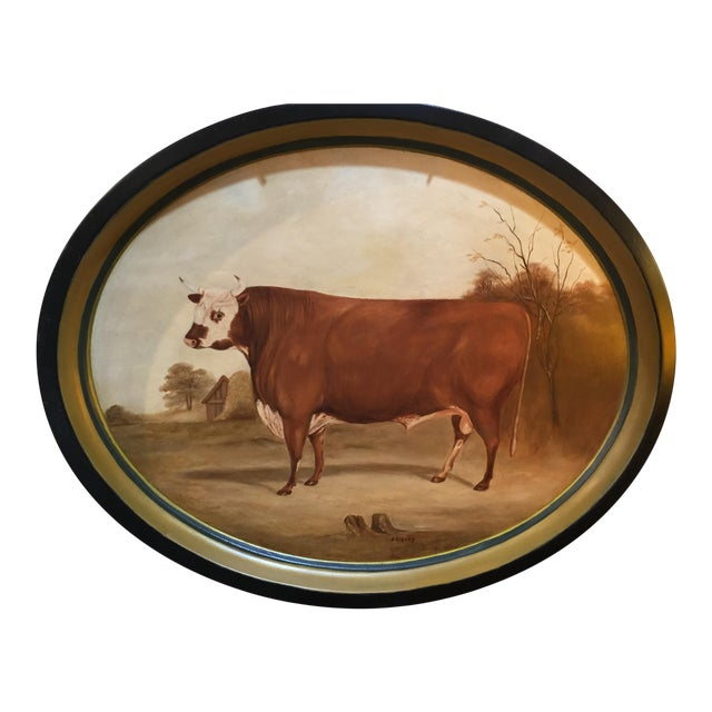 Original Bull in Landscape Hand Painted Tole Tray For Sale