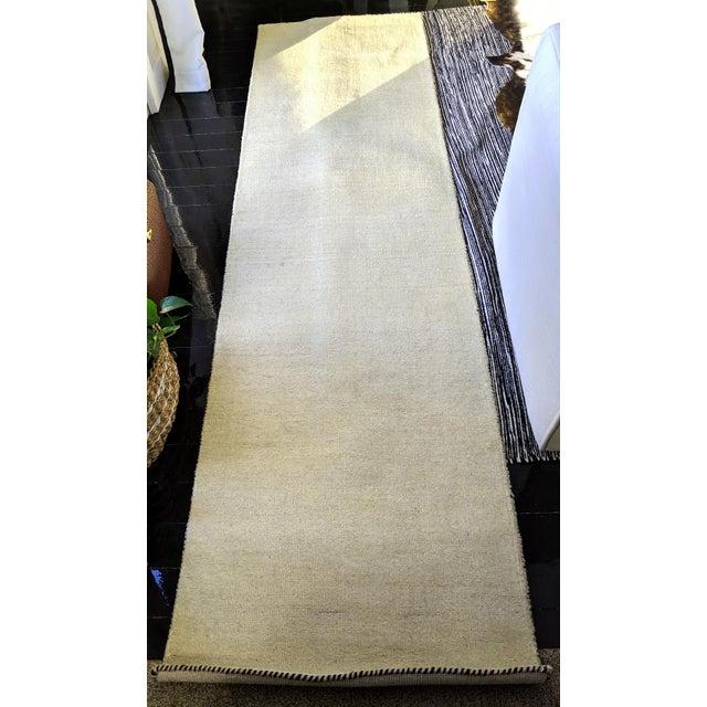 Contemporary Beige Woolen Gabbeh Runner Rug - 2′7″ × 9′10″ For Sale - Image 4 of 4