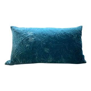 West Elm Teal Velvet Lumbar Pillow For Sale