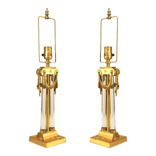 American Art Moderne Brass and Glass Table Lamps - a Pair For Sale