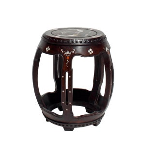 Chinese Oriental Brown Huali Wood Mother of Pearl Inlay Barrel Shape Stool For Sale
