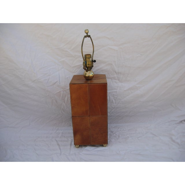 Jean Royere Attributed Leather Patch Lamp - Image 6 of 8
