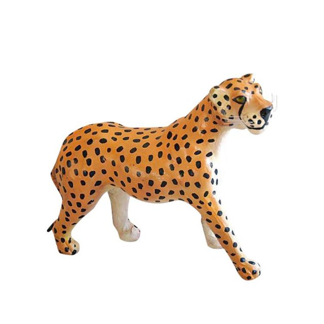Hand Painted Vintage Leather Cheetah For Sale - Image 5 of 6
