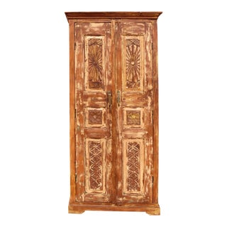 1920s Rustic Floral Carved Cabinet Armoire For Sale