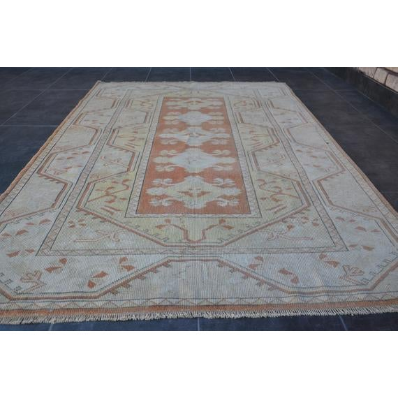 1960s 1960s Vintage Turkish Hand-Knotted Rug - 4′1″ × 5′11″ For Sale - Image 5 of 10