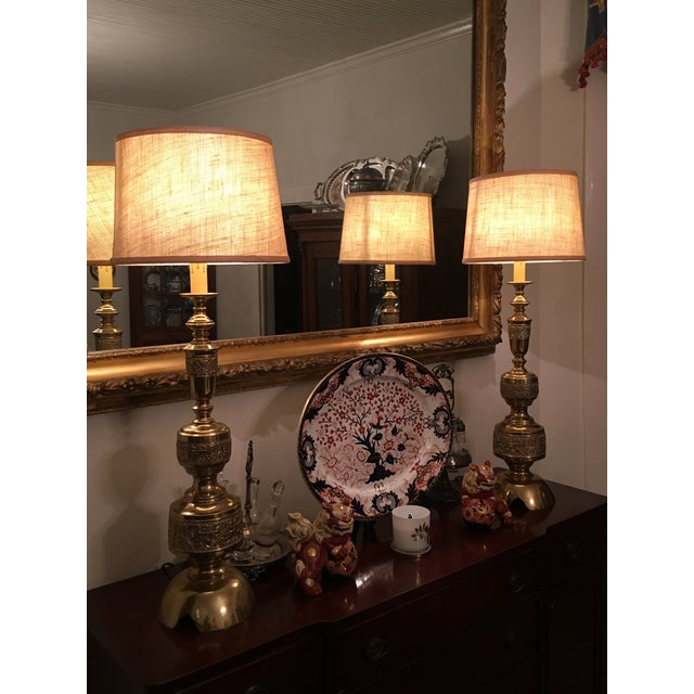 James Mont Solid Brass Lamps - Pair For Sale - Image 6 of 6