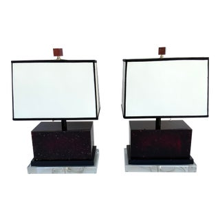 2010's Acrylic Red Lamps on Acrylic Base - a Pair For Sale