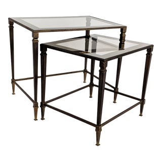 1960s Hollywood Regency Maison Jansen Bronze and Glass Nesting Tables - 2 Pieces For Sale