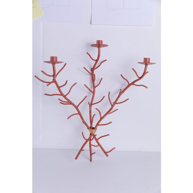 Abstract Madcap Cottage Baker Furniture Coral-Styled Candelabra Wall Sconce For Sale - Image 3 of 6