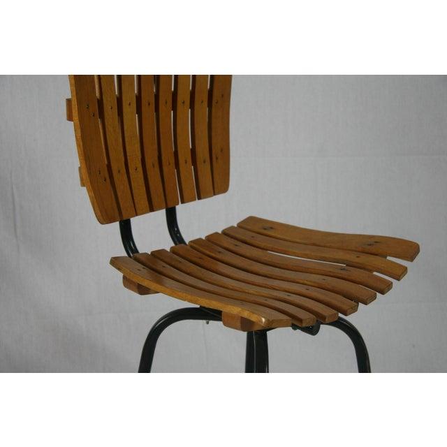 Mid 20th Century Vintage Mid Century Arthur Umanoff Style Slatted Swivel Chair For Sale - Image 5 of 7