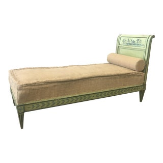 19th Century Italian Venetian Tan Upholstered Daybed For Sale