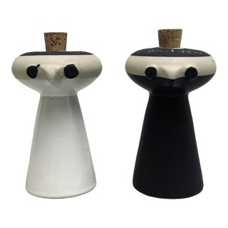 David Gil for Bennington Potters Stoneware Figural Salt and Pepper Shakers - Set of 2 For Sale