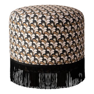 Fringe Ottoman in Deco Floral Gold Blush Oga For Sale