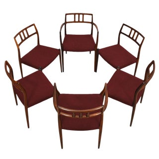Set of 6 Danish Modern Dining Chairs in Rosewood by Niels Moller For Sale