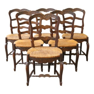 Late 19th Century Antique French Country Carved Oak Dining Chairs- Set of 6 For Sale