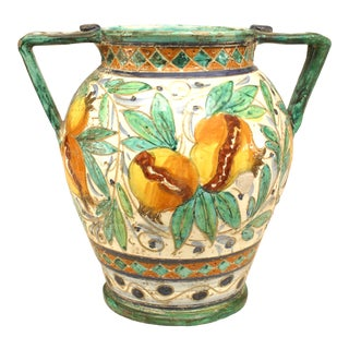 Italian Neoclassic Majolica Earthenware Vase with Bird For Sale