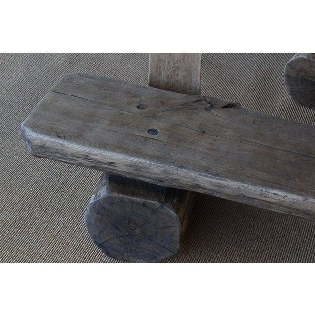 Tan Pair of Oak Benches, France, 1960s. Sold Individually. For Sale - Image 8 of 12