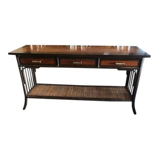 Palecek Bamboo Console Table With Rattan Bottom Shelf For Sale