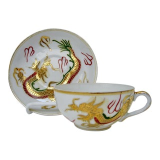 Bone China Dragon Cups & Saucers, 16 Pcs For Sale