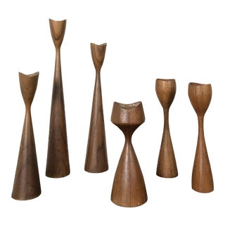 1960s Danish Modern Teak 6 Candle Holders - Set of 6 For Sale