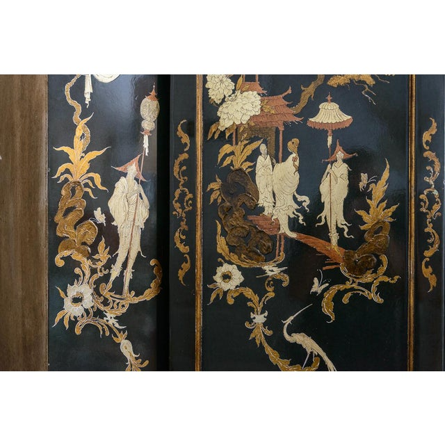 Chinoiserie Chippendale Hunter Green & Gold Hand Painted For Sale - Image 10 of 13