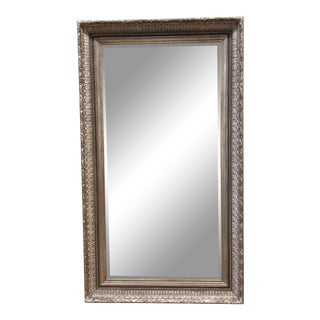Silver Leaf Large Ornate Framed Beveled Mirror For Sale
