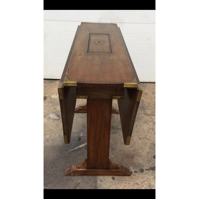 Vintage Campaign Style Drop Leaf Dining Table - Image 3 of 6