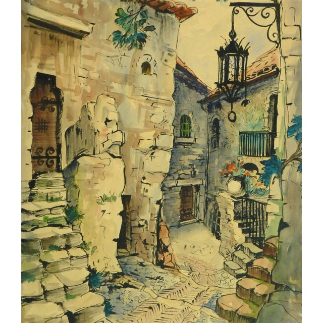 Augustin Faure, Vintage French Watercolor - Village De Provence For Sale