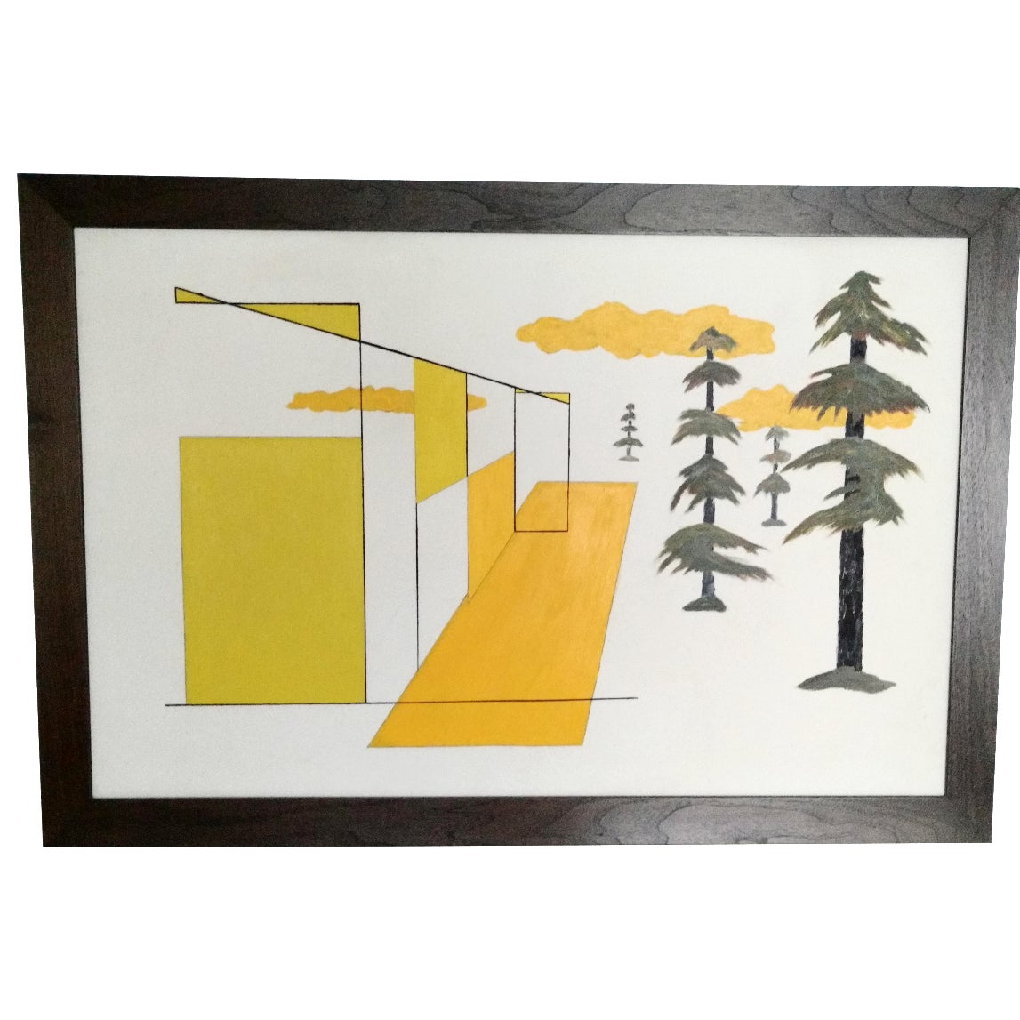 Abstract Cubist Landscape with Pine Trees | Chairish