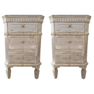 Pair of Swedish Paint Decorated End Tables or Nightstands For Sale