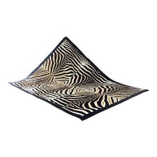 Patchwork Leather Trimmed Zebra Hide Area Rug- 8′6″ × 10′7″ For Sale