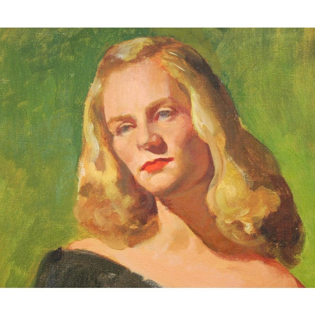 Mid-Century Lady with Golden Hair Oil Portrait - Image 4 of 7