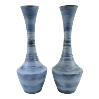 Mid-Century Modern Royal Haeger Blue Striated Glaze Art Pottery Mantel Vases - a Pair For Sale