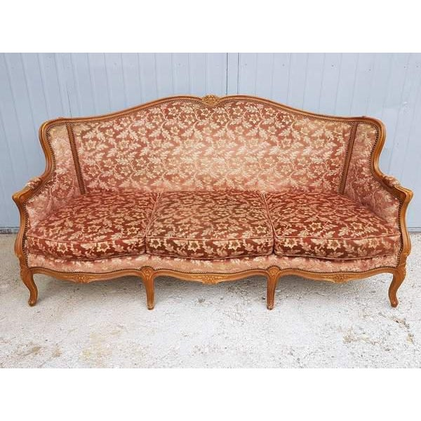 Pink Three Piece French Antique Louis XV Style Carved Parlor Suite Sofa Canape Loveseat For Sale - Image 9 of 13