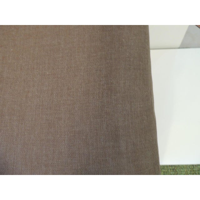 Crate and Barrel Chaise Lounge in Brown Linen For Sale In Miami - Image 6 of 12