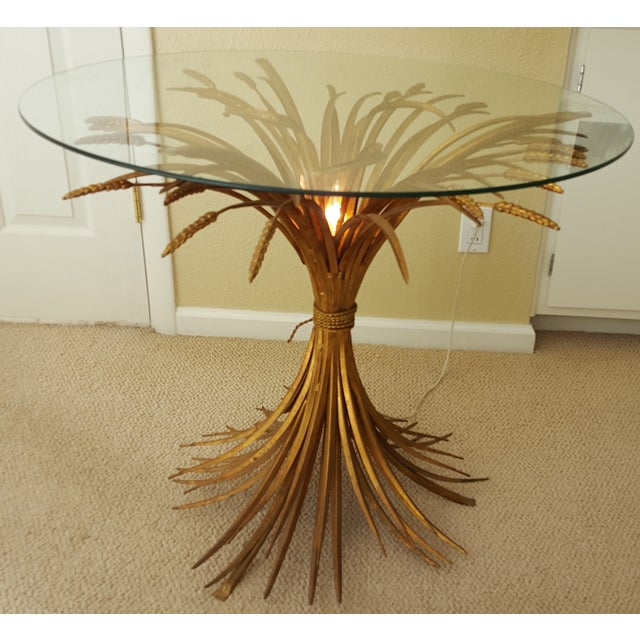 Hollywood Regency Gilt Wheat Sheath Lamp Table With Center Light For Sale - Image 3 of 6