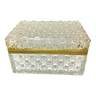 Vintage French Cut Crystal Box With Gilt Brass Mounts For Sale