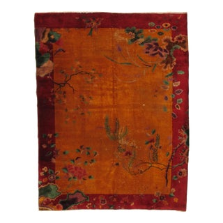 Antique Chinese Nickle Hand-Knotted Rug - 8′6″ × 11′1″ For Sale