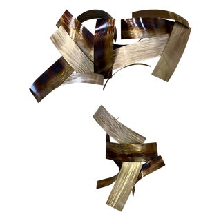 Two Piece Modern Metal Wall Sculpture by Johnston, 2011 For Sale