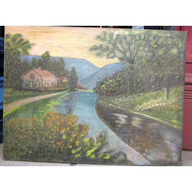 This is an antique 19th century primitive folk art oil on canvas painting of a resplendent rural valley, with a blue river...