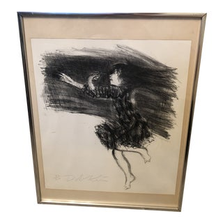 1970s Black and White Lithograph of a Girl by Alexander Dobkin, Framed For Sale