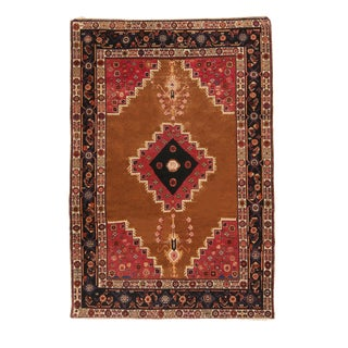 1900s Transitional Bakhtiari Red and Copper Brown Wool Rug For Sale